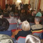 I saluti agli intervenuti a Palazzo Pantaleo per ascoltare gli studenti del Liceo Archita